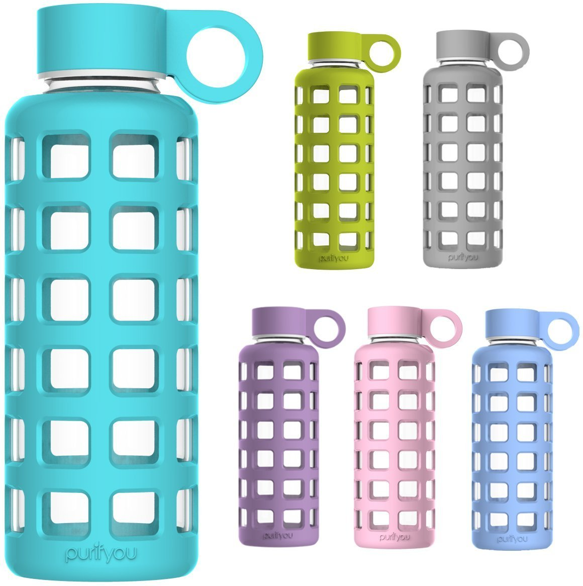 BPA Free Glass Water Bottle With Silicone Sleeve by Purifyou idtrythat