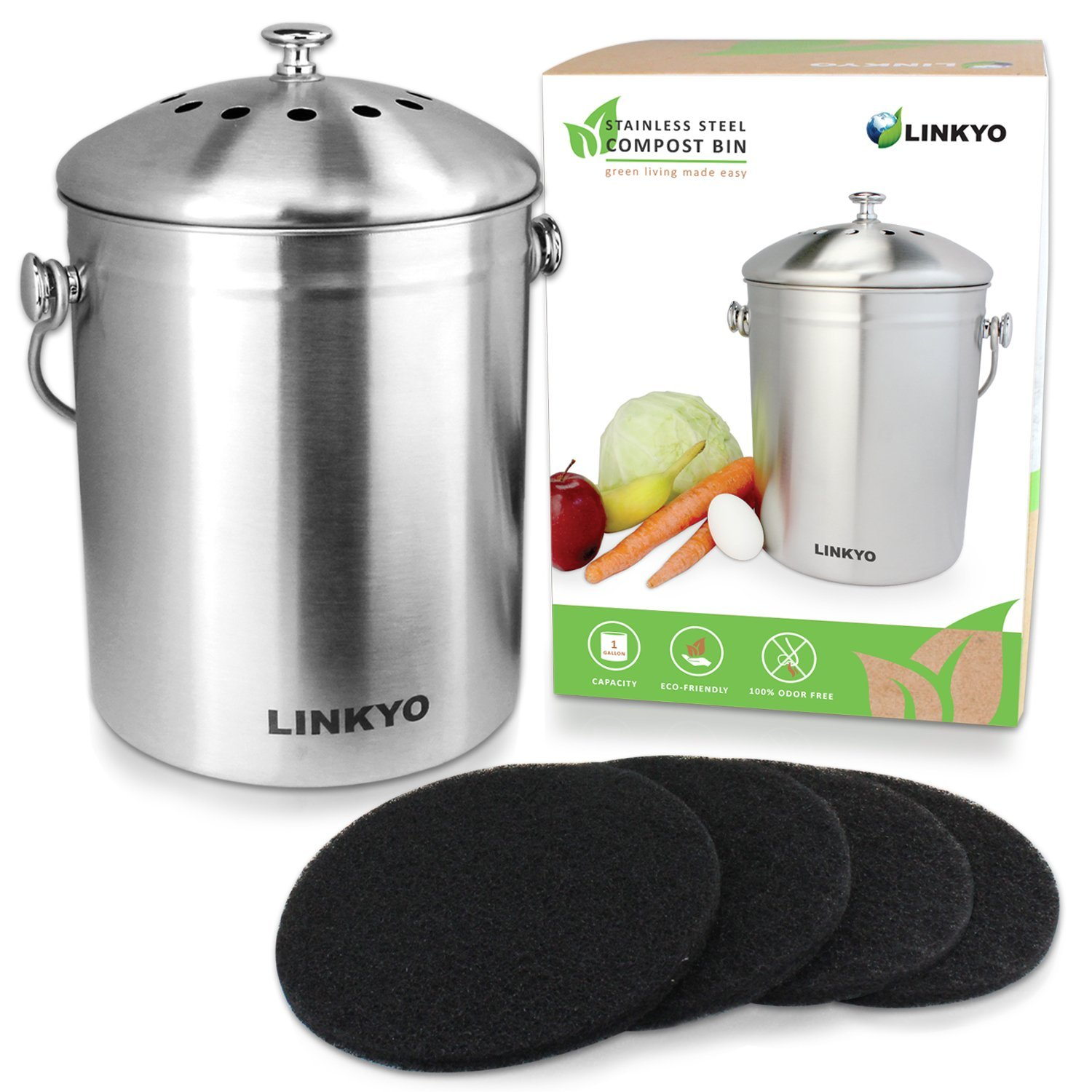 LINKYO Kitchen Compost Bin – 1 Gallon Stainless Steel Composter with ...