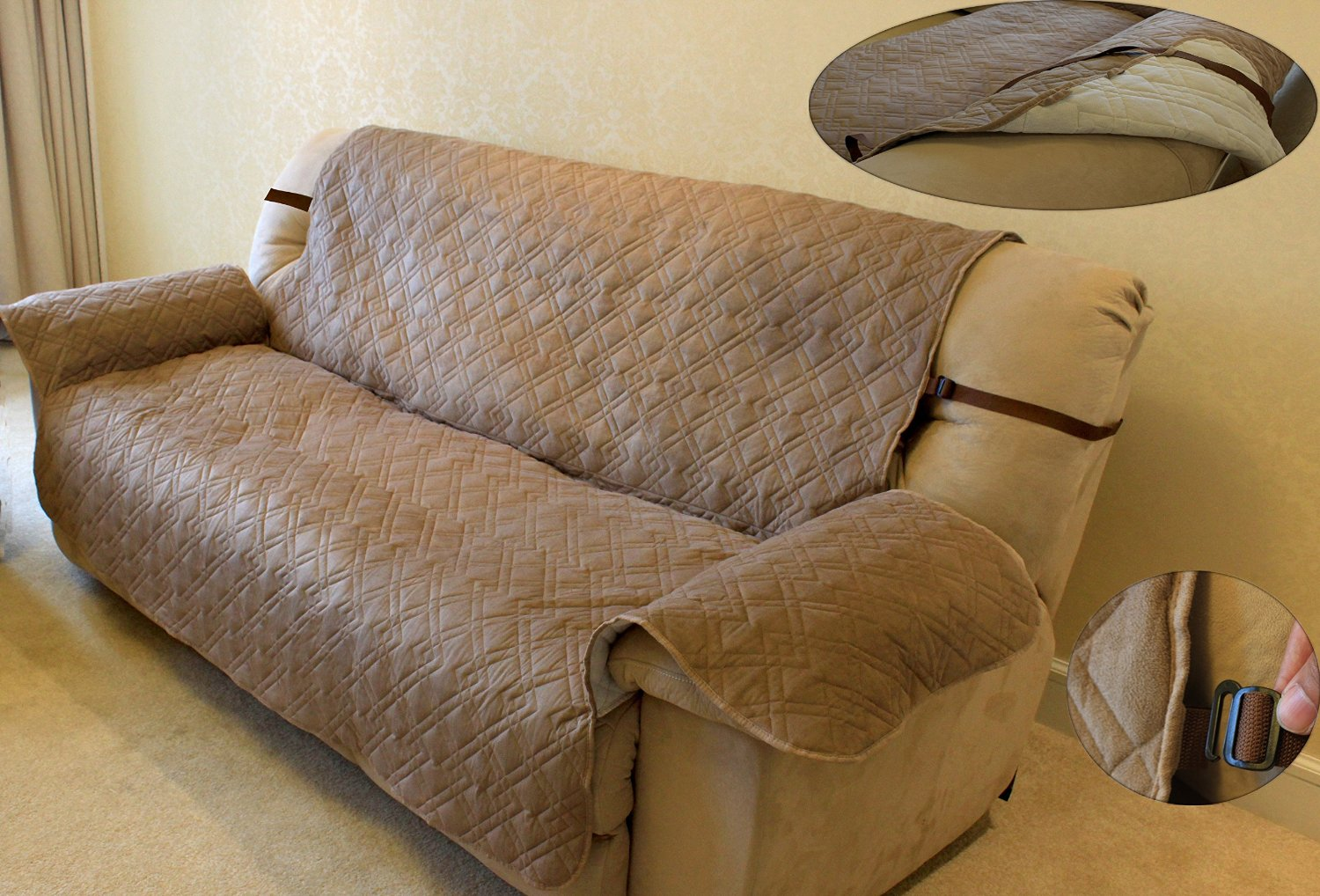 Innx Quilted Microfiber Suede Chair Loveseat Couch Sofa